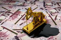 Gold Pumpjack And Spilled Oil Over Saudi Riyals - stock illustration