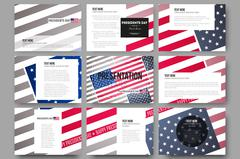 Set of 9 templates for presentation slides. Presidents day background with Stock Illustration