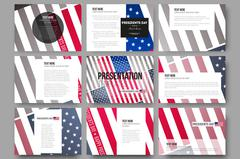 Set of 9 templates for presentation slides. Presidents day background with - stock illustration