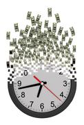 Time Is Money Concept. Clock Falling Apart To Dollars. - stock illustration