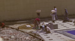 Indian Laborers Working with stone Stock Footage