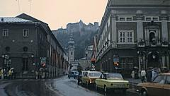 Salzburg 1977: traffic in the city centre - stock footage