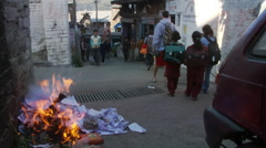 Burning garbage on street Stock Footage