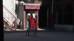 Girls outside in urban area. Stock Footage