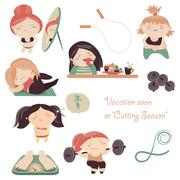 Complexity of womens weight losing - stock illustration