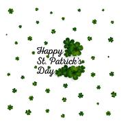 Stock Illustration of Green clovers on white, decoration for St Patricks day