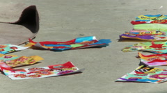 Color designed papers on the ground. Stock Footage