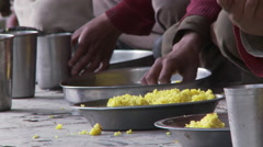 Stock Video Footage of corn rice in tin plates