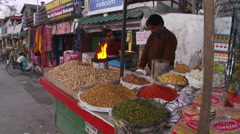 Nuts, lentils and dried spice and vegetable vendor Stock Footage