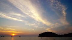 Beautiful  peaceful Gold Sea Sunset. Mountains on the horizon. Stock Footage