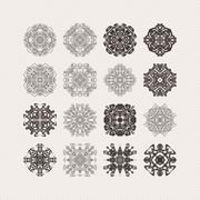 Stock Illustration of Set of ornate vector mandala symbols. Gothic lace tattoo. Celtic weave with s