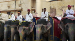 Row of several people each on an elephant. Stock Footage
