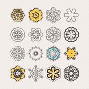 Set of ornate vector mandala symbols. Gothic lace tattoo. Celtic weave with s - stock illustration