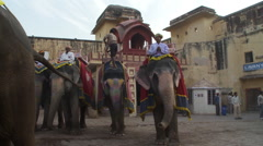 Many men on painted elephants in the town square. Stock Footage