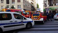French Police cars and Firefighters Trucks Stock Footage