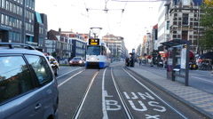Time Lapse of Trams, Traffic & People on a Busy Street in Amsterdam Netherlands Stock Footage
