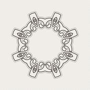 Vector ornate border. Gothic lace tattoo. Celtic weave with sharp corners. - stock illustration