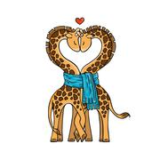 A pair of cute giraffes in love with a common scarf. Neck curved in the shape - stock illustration