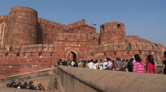 Tourists entering the red fort in Agra Stock Footage