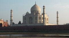 Taj Mahal from across Yamuna River Stock Footage