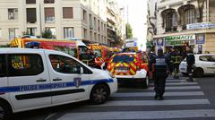 French Police cars and Firefighters Trucks - stock photo