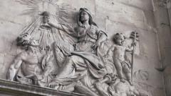 Wall frieze in a church, old stone - panoramic Stock Footage