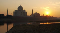 View of Taj Mahal at sunset Stock Footage