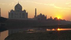 Taj Mahal and reflection of sunset Stock Footage