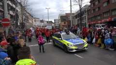 4k Schoduvel carnival police car Brunswick Germany Stock Footage