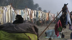 Clothes drying on lines Stock Footage