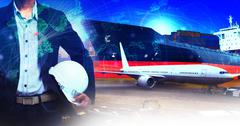 professional working man in air freight ,cargo logistic  and industries trans - stock photo
