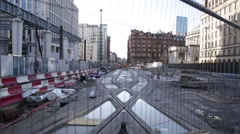 Manchester tram tracks construction, England, Europe Stock Footage