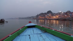 Phuja Ceremony Ghat from boat Stock Footage