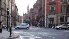 Manchester city centre intersection, England, Europe Stock Footage