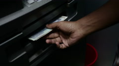 Hand of indian man withdrawing cash from ATM Stock Footage