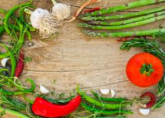 Vegetables on a wooden desk - stock photo