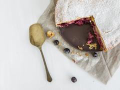 Custard cherry pie - stock photo
