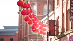 Chinese New Year Lanterns in England, Manchester, Europe Stock Footage
