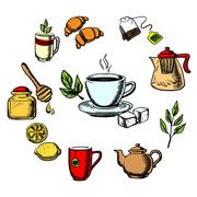 Herbal tea, sweets and dishware Stock Illustration