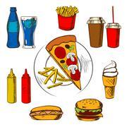 Fast food snacks, dessert and beverages Piirros