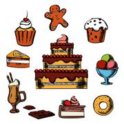 Desserts with cake and confectionery - stock illustration