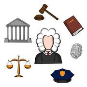 Law, judge and justice icons Stock Illustration