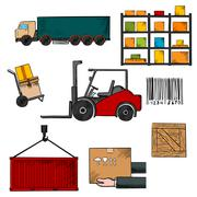 Delivery, shipping and freight objects Stock Illustration