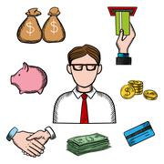 Banking, business and financial icons - stock illustration