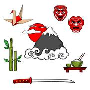 Japan travel icons and objects - stock illustration