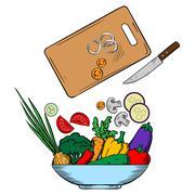 Stock Illustration of Vegetarian salad preparation process illustration