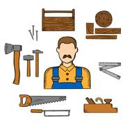 Carpenter with timber and tools Stock Illustration