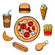 Fast food and snacks icons Piirros
