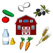 Farming food and agriculture objects Stock Illustration