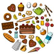 Pastry, dessert and confectionery icons - stock illustration
